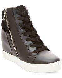 Steve Madden | Black Lagoon High Top Wedge Sneakers | Lyst