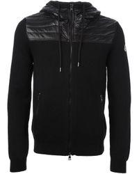 Moncler Black Quilted Panel Cardigan for men