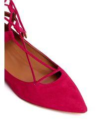 Aquazzura - Pink 'belgravia' Suede Caged Flats - Lyst