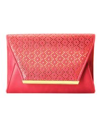 Jessica Mcclintock | Pink Perforated Envelope Clutch | Lyst