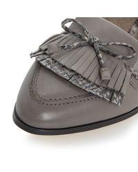 Dune - Gray Guinevere Leather Tassel Loafer - Lyst