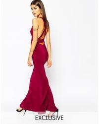 Club L Purple Open Back Strap Detail Maxi Dress With Fishtail