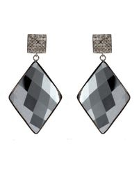 Adornia | Black Hematite And Champagne Diamond Mondrian Earrings | Lyst
