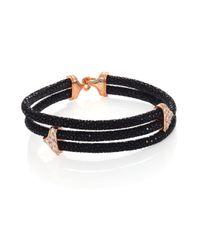 Stinghd Metallic Diamond, 18k Rose Gold & Stingray Triangle Wrap Bracelet for men