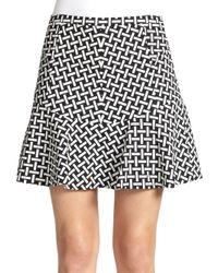 Diane von Furstenberg - Black Key-print Flared Mini Skirt - Lyst