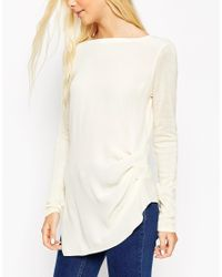 ASOS | Natural Knitted Tunic Top With Woven Front | Lyst