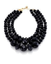 kate spade new york - Black Give It A Swirl Triplestrand Statement Necklace - Lyst