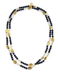 Tory Burch - Blue Mikah Simulated Pearl & Shell Rosary Necklace - Lyst