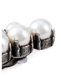 Lanvin - White Clip-On Pearl Earrings - Lyst