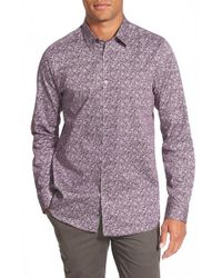 Ted Baker | Purple 'florall' Extra Slim Fit Sport Shirt for Men | Lyst