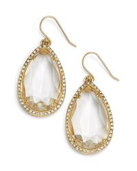 Kate Spade | Metallic 'day Tripper' Teardrop Earrings - Clear | Lyst