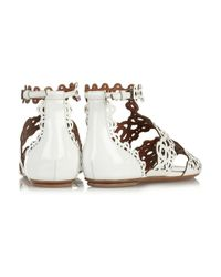 Alaïa | White Laser-Cut Patent-Leather Sandals | Lyst