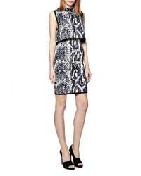 French Connection - Blue Spotlight Boa Highneck Dress - Lyst