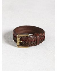 John Varvatos | Brown Leather Cuff With Hand-Knotted Detail for Men | Lyst