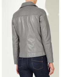 John Lewis - Gray Betsy Leather Biker Jacket - Lyst