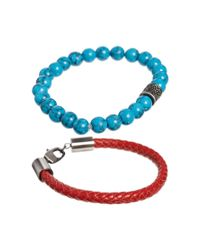 Simon Carter - Red Leather and Semi Precious Bracelet Pack Exclusive To Asos for Men - Lyst