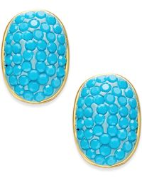 kate spade new york | Blue Gold-tone Turquoise-colored Pavé Stud Earrings | Lyst