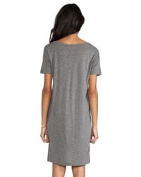 T By Alexander Wang - Gray Boatneck Dress Mini Pocket - Lyst