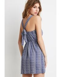 Forever 21 | Blue Abstract Geo V-back Dress You've Been Added To The Waitlist | Lyst
