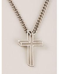 Saint Laurent | Metallic 3d Crucifix Necklace for Men | Lyst