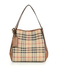 c5555a3ca916 Lyst - Burberry Canter Small Horseferry Check   Leather Tote in Brown