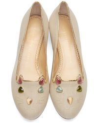 Charlotte Olympia - Natural Beige Kitty On The Rocks Flats - Lyst