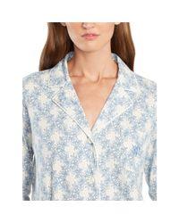 Ralph Lauren | Blue Floral-plaid Cotton Pajama Set | Lyst