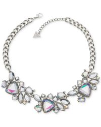 Guess | Metallic Silver-tone Large Crystal Bib Necklace | Lyst