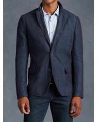 John Varvatos | Blue Linen Cotton Jacket With Wire Insert for Men | Lyst