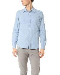 Creep Blue Pocket Point Collar Shirt for men