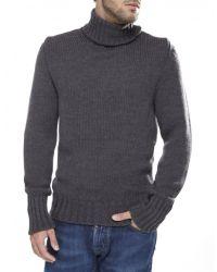 Jules B - Gray Merino Wool Roll Neck Jumper for Men - Lyst