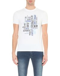 Armani Jeans White Authentic Denim Brand Stretch-cotton T-shirt for men
