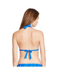 Polo Ralph Lauren - Blue Ruffled Halter Bikini Top - Lyst