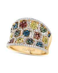 Le Vian | Multicolor 14k Honey Gold Mixberry Diamond Concave Ring 138 Ct Tw | Lyst