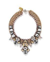 Assad Mounser | Metallic Moon Crystal Square Curb Chain Necklace | Lyst
