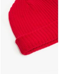 6397 - Red Ribbed Beanie - Lyst