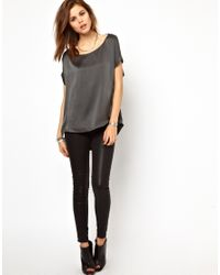 2nd Day Gray Silk Tee with Dipped Back