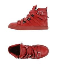 Giuseppe Zanotti - Red Buckled Leather High-Top Sneakers for Men - Lyst