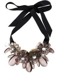 P.A.R.O.S.H. - Black Flower Ribbon Necklace - Lyst