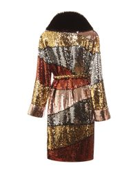 Moschino - Multicolor Colorblock Sequins Coat With Fur Collar - Lyst