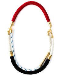 Marni Red Contrasting Panel Rope Necklace