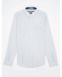 Ben Sherman White Beetles And Bugs Pattern Long Sleeve Shirt for men