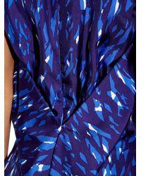 Balenciaga Blue Abstract-Print Silk Dress