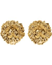 Versus - Metallic Gold Lion Stud Earrings - Lyst