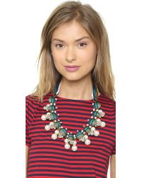 Tory Burch Green Insley Necklace - Stripe Multi/Antique Bronze