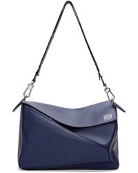 Loewe - Blue Navy Leather Extra Large Puzzle Bag - Lyst