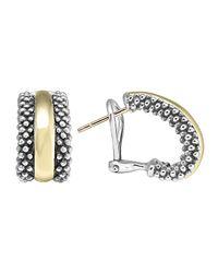 Lagos - Metallic 18K/Silver Caviar Hoop Earrings - Lyst