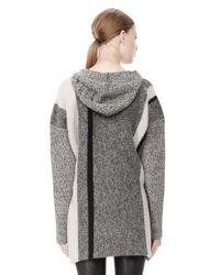 Alexander Wang Gray Boiled Tweed Stripe Baja Hoodie