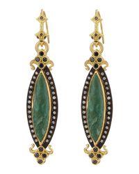 Armenta - Green Chrysocolla & Diamond Elongated Marquise Earrings - Lyst