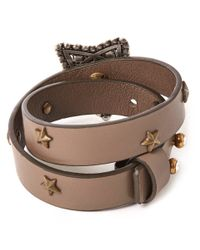 Lanvin | Brown Taupe Elsie Star Leather Wrap Bracelet | Lyst